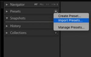 Ako používať presety v LightRoome import